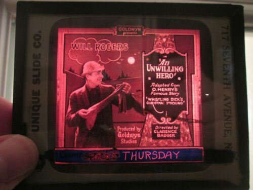 Unwilling Hero  - Original 1921  Movie Glass Slide - Will Rogers