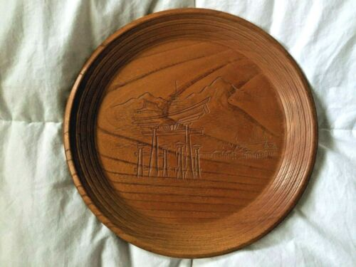 "Japanese Wood Plate Carving Iwaso 10 1/2"" Signed Fine Art"