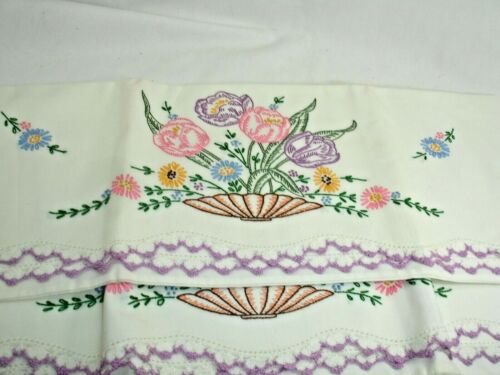 PC#9, Vintage Pillowcases, Standard, Embroidered Tulips, Crochet Edge