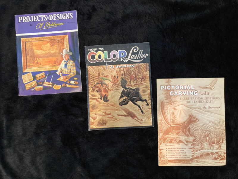 3 VINTAGE AL STOHLMAN, HOW TO COLOR LEATHER, PROJECTS &DESIGNS PICTORAL CARVINGS