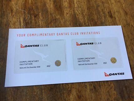 Qantas Club lounge passes invitations TWO 2 exp Dec 2018