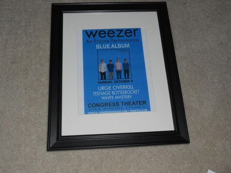 "Framed 2011 Weezer Concert Tour Mini-Poster, Chicago, Blue Album 14""x17"""