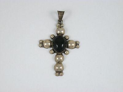 "Vintage Taxco Sterling Silver & Onyx 925 Cross Pendant 2 1/4"""