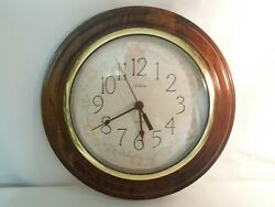 Sunbeam Quartz Wall Clock Wood Frame w/ Quilted Dial & Glass Face Cover 11 3/4