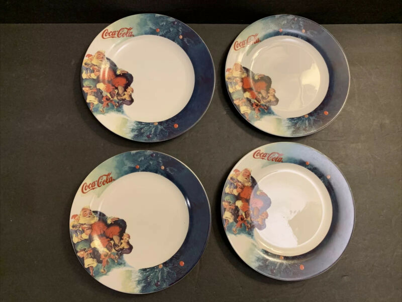 "Coca Cola Gibson Santa & Elves Christmas Set Of 4 Salad Plates 7.75"" VTG 1998"