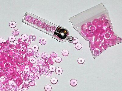 50pc bag Hot Pink Fairy pebbles acrylic half bubbles for glass bottle vials 5mm ()