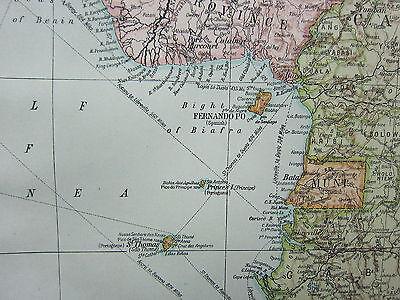 1919 LARGE MAP ~ AFRICA WEST COAST ~ GOLD COAST IVORY SIERRA LEONE NIGERIA