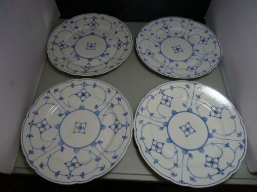 Antique Koenigszelt Silesia Blue White Blue Lace Scrolled Flowers China Dinner 4
