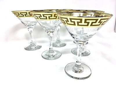 Crystal Martini Glass Set - Crystal Glass Set of 6 Martini Wine  Champagne 6 oz Gold Greek Key Rimmed Design