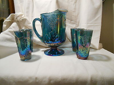 Iridescent Blue Carnival (Indiana) Harvest Grape Design Pitcher & 4 Glasses