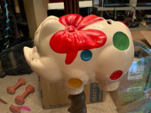 Ceramic American Bisque Polka Dot Pig Bank vintage great shape