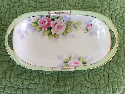 Hand Painted NIPPON Porcelain Celery Relish Dish Bowl Pink Roses Gold - Painted Bowls