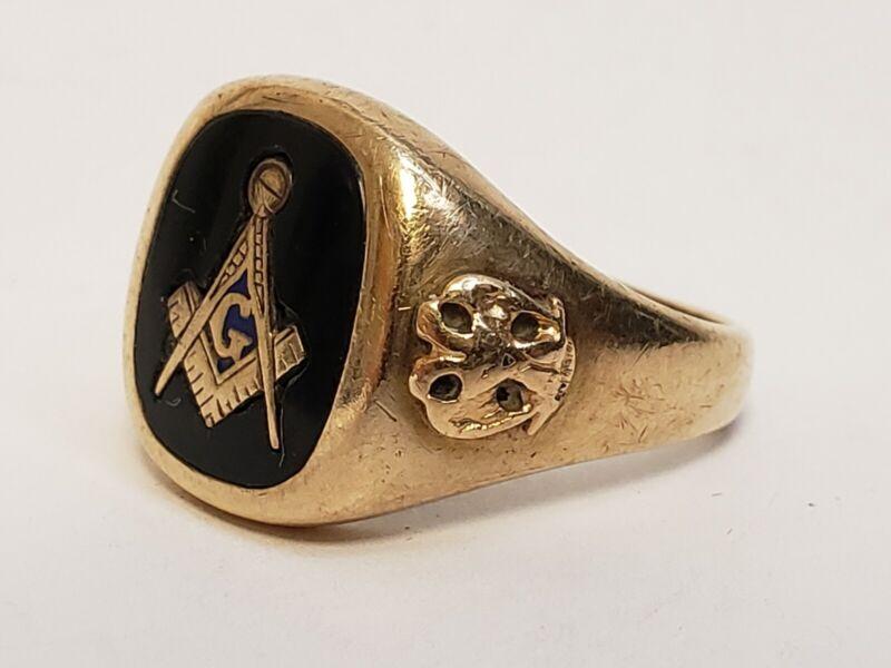 Vtg Masonic 10k Solid Yellow Gold Onyx Jet Black Mens Ring Scottish rite Sz 9.25
