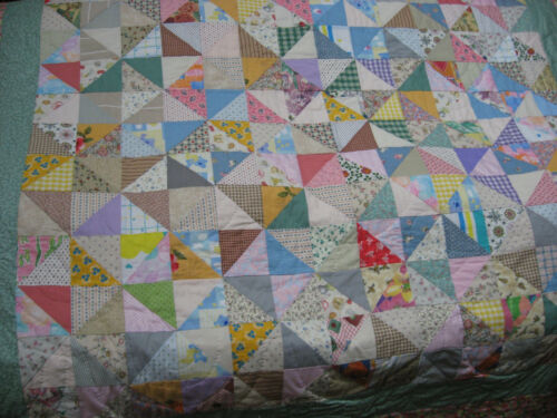 """Handmade New Full Quilt 88""""x72"""" Broken Dishes Charm Hand Quilted Signed"""