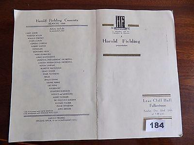 Programme Leas Cliff, FOLKSTONE-Concert RAWICZ & LANDAUER, Harold Fielding 1947