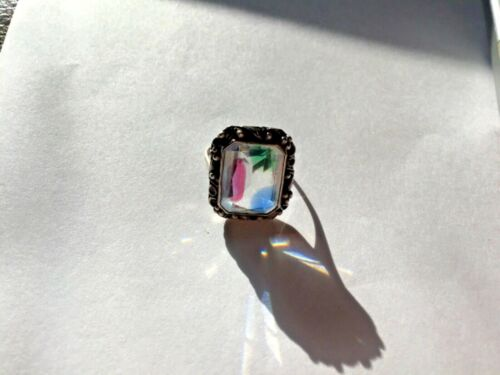 Vintage Art Deco German 800  Silver signed  Iris Glass Ring Size 7.25 watermelon
