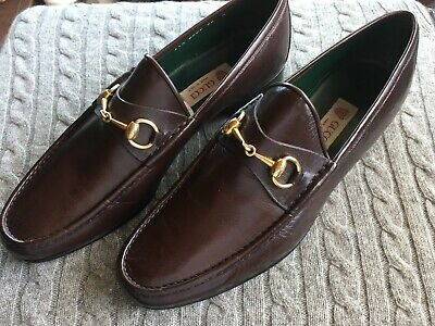 New Old Stock GUCCI Vintage Horsebit Loafers Sz 46 D 12 Brown Leather