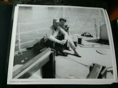 3 Vintage 8 X 10 Movie Promo Photos Couple with dog On a sail Boat .DS4020