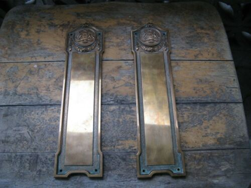 Large Antique British Columbia Coat of Arms Provincial Brass Wall Plaques - Yale