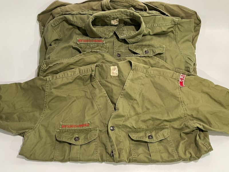 Lot of 3 Vintage Boy Scouts of America LS SS Sleeve Green Official Shirt Uniform