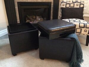 Leather storage ottomans