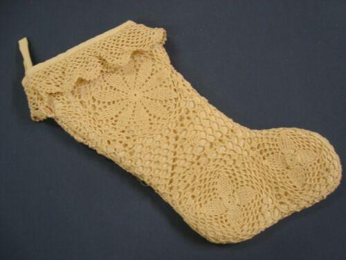 "New LACE Crochet CHRISTMAS STOCKING Victorian Shabby Chic Doily Ivory 19"" lg"