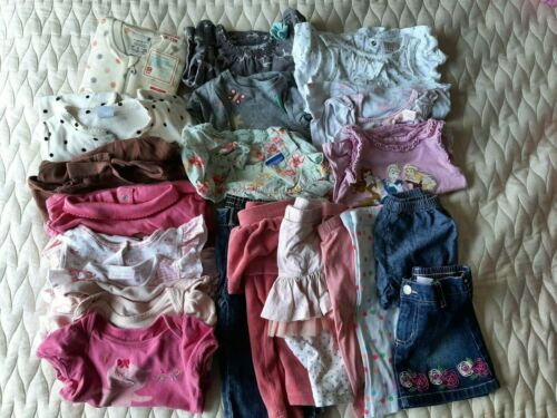 Lot Of 19 Baby Girl 12 Months Clothing Bodysuits Tops Pants Skirts Disney Uniqlo