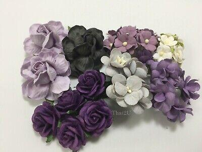 38 Assortment Paper Flower Wedding bouquet Scrapbook TH/Halloween - Purple - Halloween Wedding Bouquet