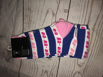 Ladies Disney Star Wars R2 D2 Novelty Socks Shoe Size 4 - 10 Pink White Blue