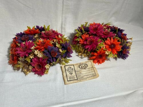 2 Vintage Plastic Flower Candle Rings Tags Kirk Society of American Florists