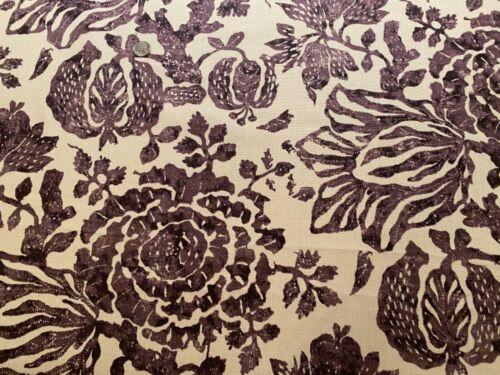 6.75Y CAROLINA IRVING TEXTILES Exotic Bloom Eggplant 100% Linen Artisanal Fabric