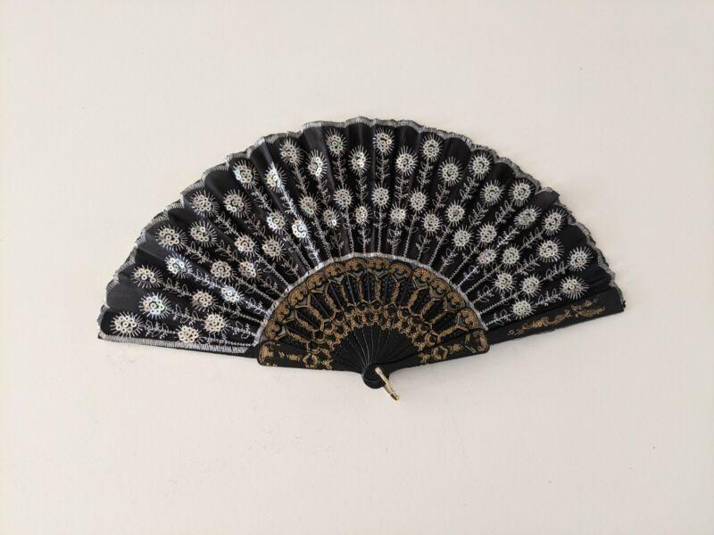 Black Spanish Style Dance Party Wedding Lace Asian Folding Hand Held Flower Fan