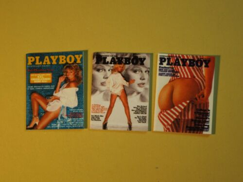 "Dollhouse Miniature 1"" 1/12 Scale 1970s Playboy Magazines - set of 3 w/ Farrah"