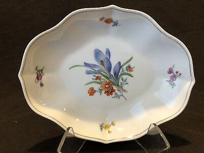 Meissen Blue Floral Trinket Dish 1st Quality Crossed Swords Circa 1934