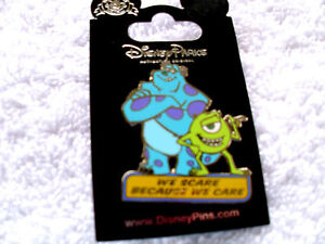 Disney * MIKE & SULLEY * Scare Because We Care - Monsters Inc * New on Card Pin
