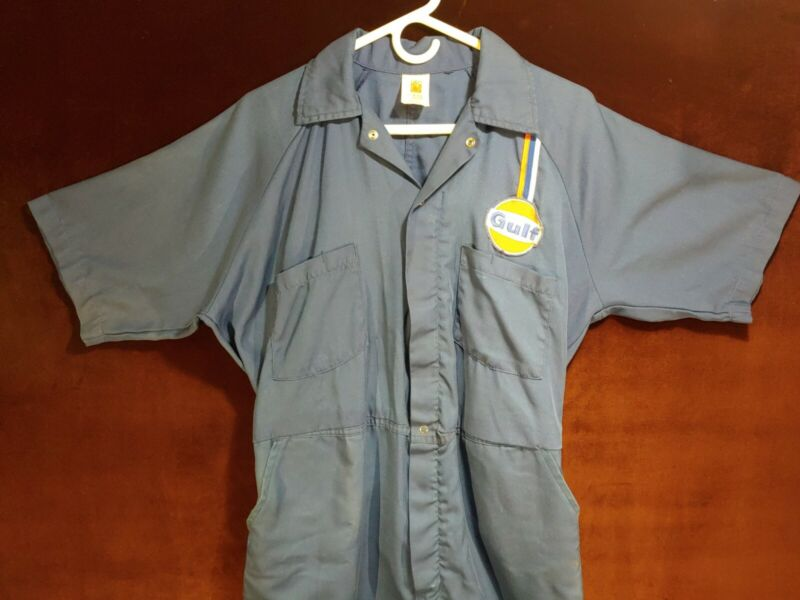 Vintage Gulf Gas Oil Station Attendant Medium Coverall Uniform Petro Advertising