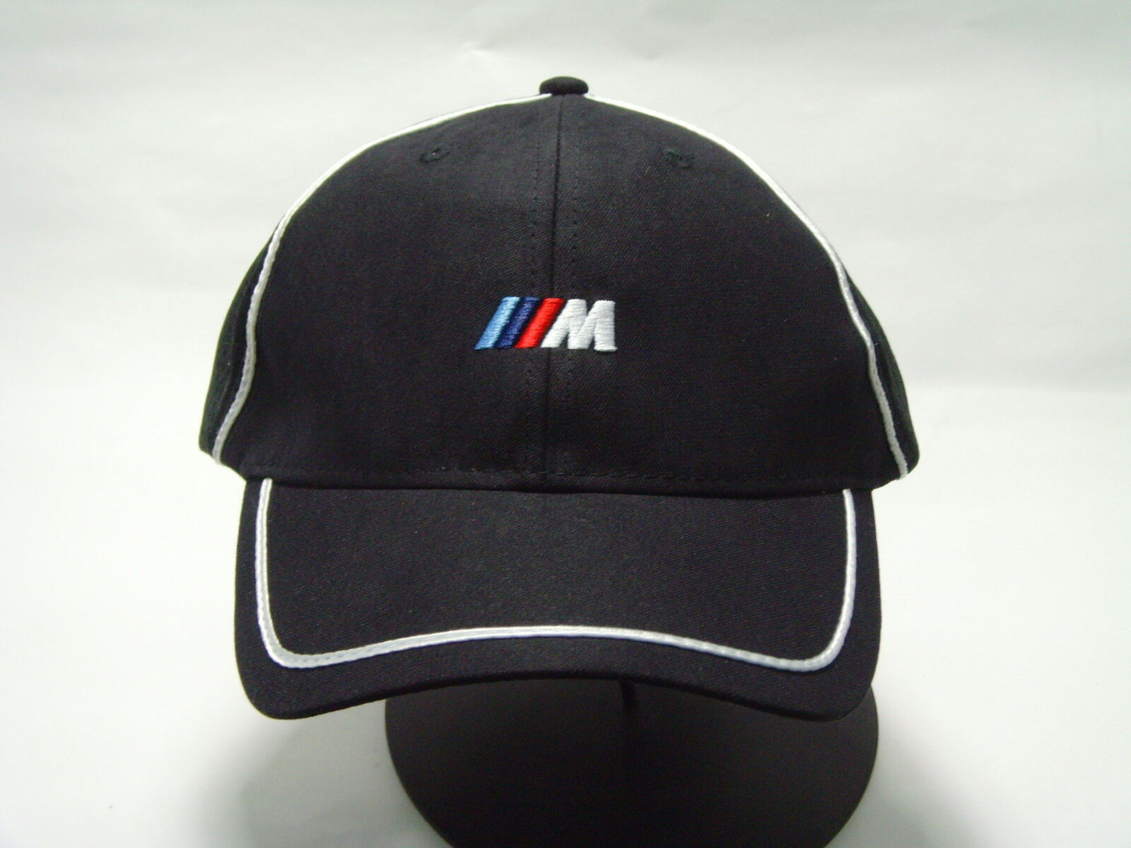 BMW /// M SPORT Men's Baseball HAT CAP BLACK WITH WHITE STRIPE 80162208702 M3 M5