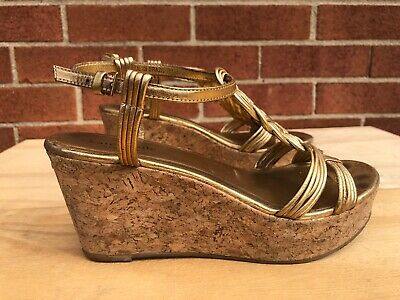 Kate Spade Becca Wedge Sandals US 7 M Gold Braided Cork Womens T-Strap Brazil
