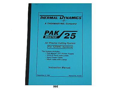 Thermal Dynamics Pakmaster 25 Plasma Cutter 110 Volt Instruction Manual 995