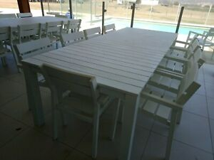 Aluminum white two tables and twenty chairs pick up from Ipswich