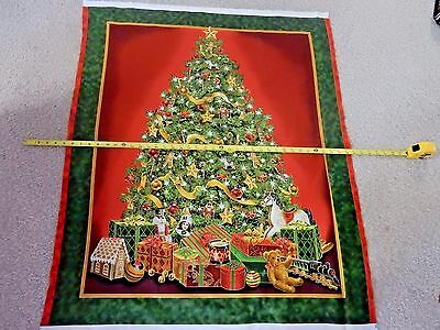 Best Time Of The Year 24589-G Christmas Tree Panel Train Gifts Metallic Fabric
