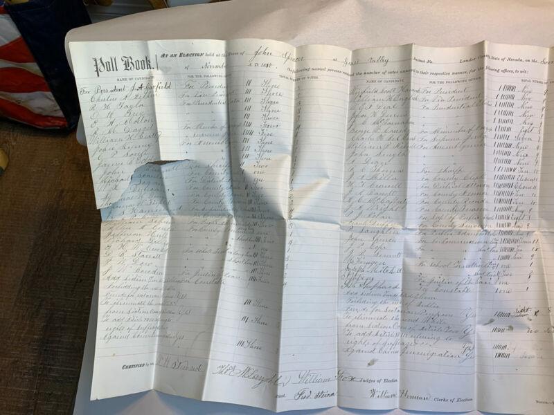 Early 1880 Election Poll Book Ballot Vote Grass Valley Nevada