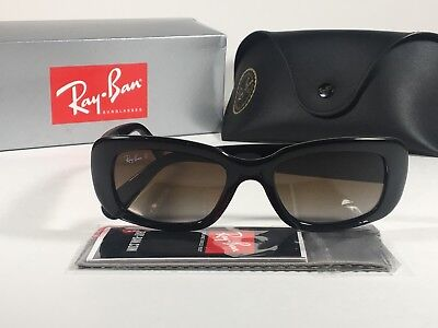 Ray-Ban Highstreet Polarized Sunglasses Flat Oval Black Gloss Brown Lens RB4122