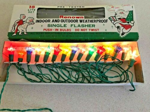 Vintage RENOWN Christmas Lights 15 INDOOR/OUTDOOR Flasher Multi-Color Bulb Set