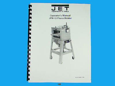 Jet  Jpm-13 Wood Planer Molder Owners Manual 185