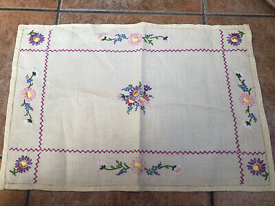 Vintage Hand Embroidered Floral Small Table Cover/cloth/runner, Ornate