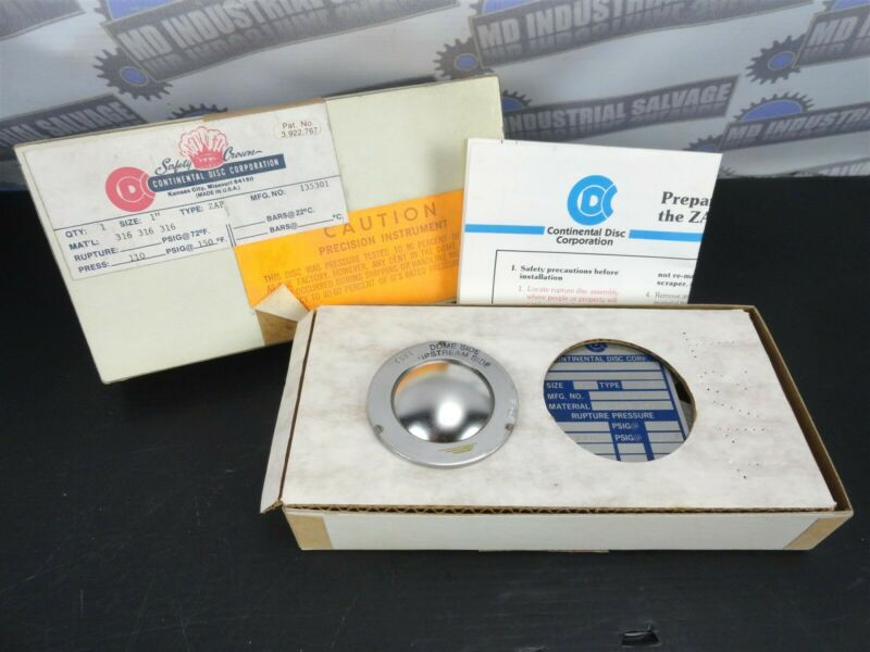 """CONTINENTAL DISC CORP. - RUPTURE DISC 1"""" Dome - 316SS - 110PSIG @ 150°F (NEW)"""