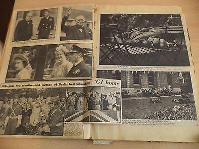 OLD VINTAGE NEWSPAPER MAGAZINE scraps SCRAPBOOK 40S 50S ROYALTY WW2 FRUIT WRAPS
