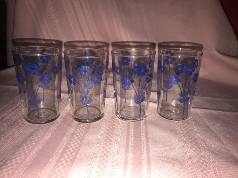 4 Vintage Libbey Swanky Swig Blue Flower Juice Glasses