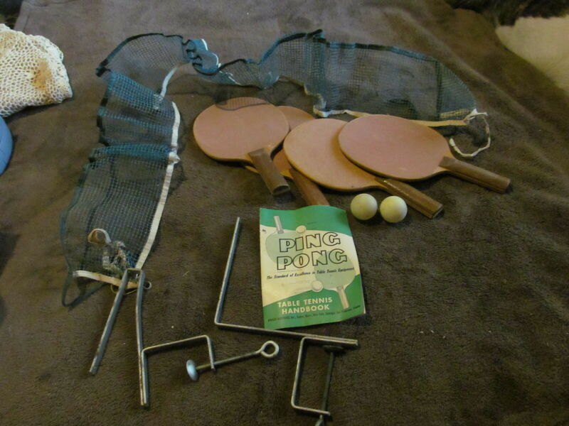 Fabulous Vintage Ping Pong Set - Paddles, Net & Brackets - Handbook Too - LOOK!!